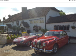 Cars outside the Red Lion