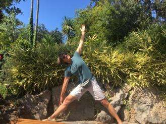 Trikonasana in the garden