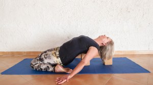 Supta Virasana on blocks