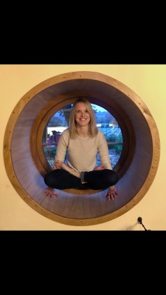 Sally in lotus position